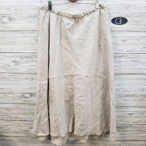 J Jill NWT Linen Midi Skirt Flax Color